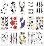 Chileeany Set di 15 fogli Tatuaggi temporanei,impermeabile tatuaggio temporaneo (10.5 × 6cm)