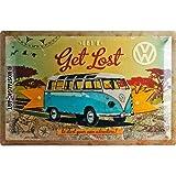Nostalgic-Art 24004 Volkswagen - VW Bulli - Get Lost | Retro Blechschild | Vintage-Schild | Wand-Dekoration | Metall | 40x60 cm
