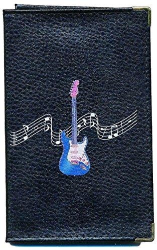 Schutz Tasche Leder Schutzhülle für Kfz-Papiere-FÜHRERSCHEIN Schwarze Gitarre