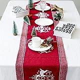 Supertop 35 * 170 cm Weihnachten Leinen Tischdecke Tischläufer Weihnachten Elch Gedruckt Tischdecke Weihnachten Kreative Dekoration