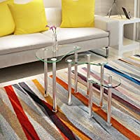 UEnjoy Set of 3 Nest of Tables Glass Coffee Table Chromed Legs Living Room Furniture