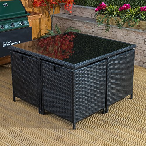 alfresia toulon rattan cube garden dining set 4 seater outdoor conservatory furniture with. Black Bedroom Furniture Sets. Home Design Ideas