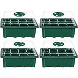 Hemoton 4PCS Caja de plántulas de 12 Agujeros Cubierta Transpirable Ajustable Bandeja de plántulas Bandeja de germinación de