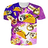 RAISEVERN T Shirts Herren Planet Cat Top 3D Druck Short-Sleeved Shirt Coole T-Shirts für Männer L
