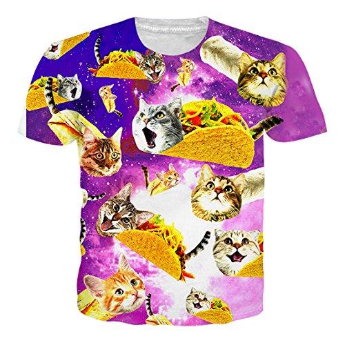 RAISEVERN Morado Cat Imprimir Camiseta Divertida Hombres Verano Personalizado Casual Top Manga Corta M