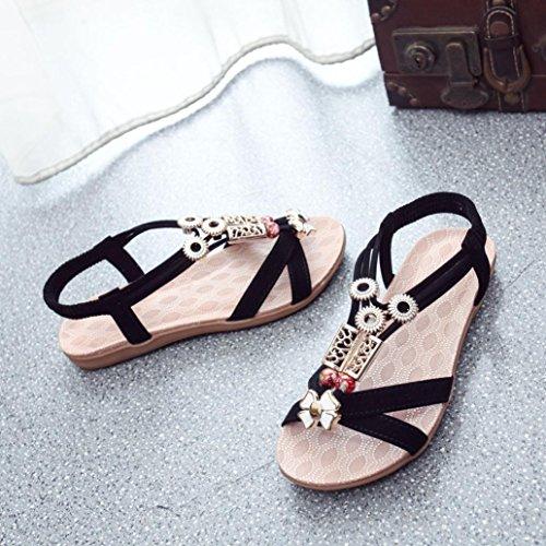Saingace Mode Frauen Boho Sandalen Leder flache Sandalen Damen Schuhe Schwarz