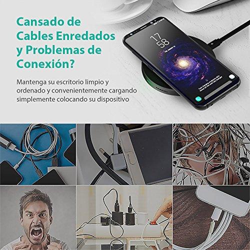 Cargador Inalámbrico Rápido para Samsung de RAVPower 10W QC Cargador Qi Anti Deslizamiento Diseño para Samsung S8 S8+ S7 S7 Edge S6 Edge Plus Galaxy Note 5 y Teléfonos Qi enabled
