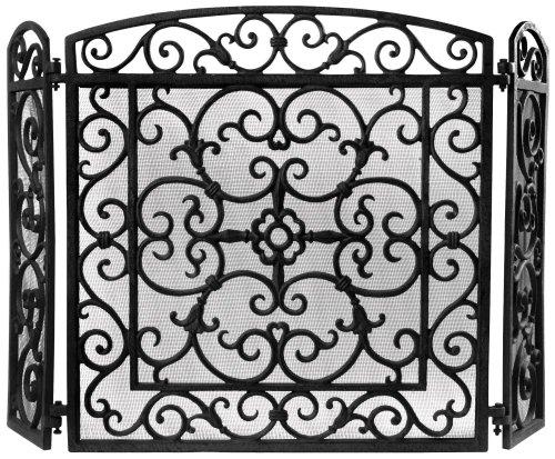 Kaminschutz aus Gusseisen mit feinem Funkenschutzgitter als hochwertiger und dekorativer Funkenschutz für offene Kamine