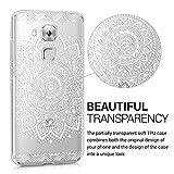 kwmobile Hülle für Huawei Nova Plus - TPU Silikon Backcover Case Handy Schutzhülle - Cover klar Blume Design Weiß Transparent -