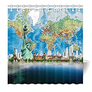 yisumei Hem pesos cortina cortina de ducha Mapa del Mundo Estatua de la Libertad Torre Eiffel