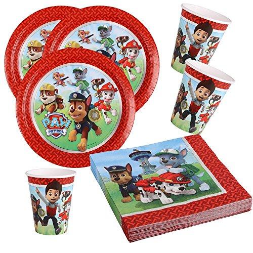 36-teiliges Party-Set Paw Patrol - Teller Becher Servietten für 8 Kinder