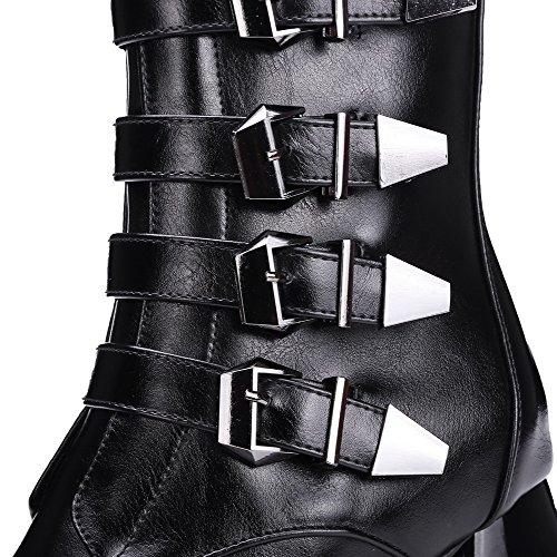 Destra Stivali Misti Tacco Agoolar Colori Zip Donna Materiale Nere Up Flessibile Down S4zzqdngU