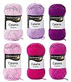 Woll-Set Baumwollgarn Schachenmayr Catania #5 - rosa/flieder/beere/pink, Wollpaket Baumwolle zum Stricken und Häkeln