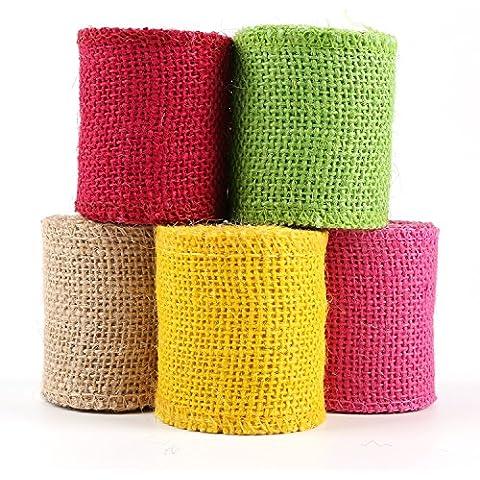 Laribbons 2.5 '' de la cinta de arpillera sólido para naves de Paquete de 5 * 2 jardin / carrete, rojo / verde / amarillo / rosa del melocotón /