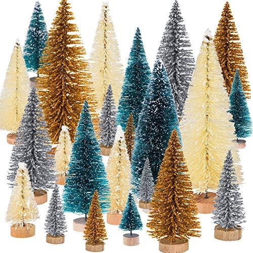 Pangda 48 Pezzi Mini Albero di Natale Artificiali Alberi da Tavolo Sisal Ornamenti per Festa a Tema Natale Decorazione, 4 Colori e 4 Dimensioni