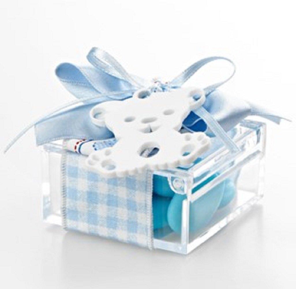 Bomboniera con confetti, Scatola Plexiglass pendaglio CIUCCIO-ORSETTO Fiocco AZZURRO con confetti.