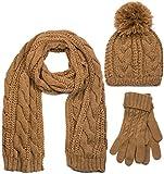 styleBREAKER Schal, Mütze und Handschuh Set, Zopfmuster Strickschal mit Bommelmütze und Handschuhe, Damen 01018208, Farbe::Cognac / Schal (One Size)