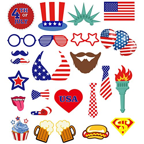 LUOEM 4. Juli Foto Props für American Independence Day patriotische Photo Booth Requisiten Party Dekorationen 25pcs (Patriotische Brille)