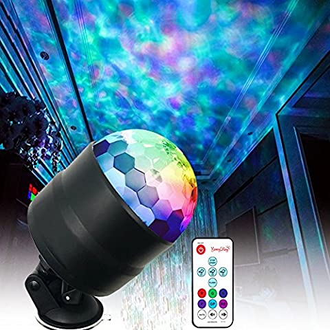YomyRay Stage Light 4W RGBW LED Party Lights Flowing Ocean Water Wave Disco Crystal Ball Night Lights Sound Activated RC Flash Rotating Effect For Party Shows In-Car Xma Festival Club(New Upgrade