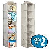 mDesign lot de 2 étagère de rangement en tissu, à suspendre – organiseur d'armoire pour chambre de bébé – support d'organisation à 6 compartiments pour serviettes, couches etc – taupe/nature