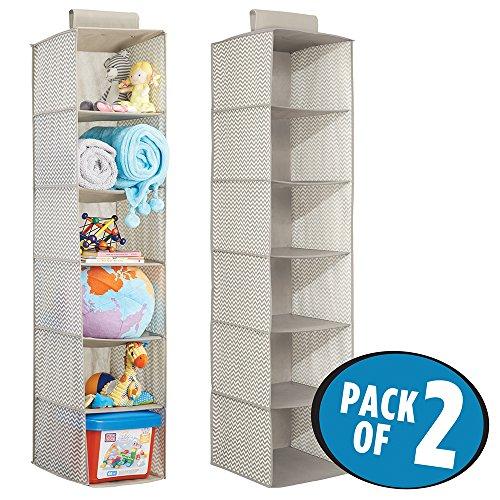 Mdesign portaoggetti in stoffa da appendere (pacco doppio) – organizer armadio per bambini – portaoggetti a 6 scomparti per vestiti, asciugamani, coperte – colore: lino