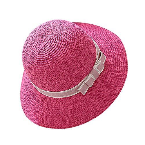 Butterme Frauen Mädchen Stroh Sonnenhut, Bowknot Dekoration Floppy Hat, Wide Brim Beach Sun Visor Hut, Summer Beach Cap (Hot Pink) (Brim Floppy Hat)