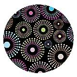 DecoHomeTextil Wachstuch LFGB Bunte Punkte Tischdecke Rund Oval Größe & Farbe Wählbar Kleine Bunte Punkte Schwarz Feuerwerk Rund 80 cm abwaschbar