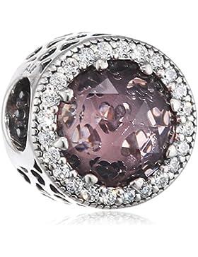 Pandora Damen-Bead Rosafarbener Strahlenkranz der Herzen 925 Silber Zirkonia - 791725N
