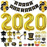 F Silvester Deko 2020 Neujahr Deko Set Girlande Ballon Schwarz Ballon Foto Requisiten für Silvester Party Dekoration
