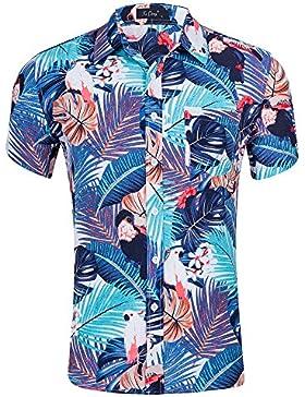 Space Climber Maschile Camicia Hawaiana Aloha Manica Corta Stampa Floreale Chiusura a Bottone Scollo a Risvolto...