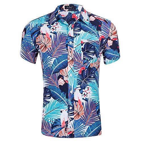 Space climber maschile camicia hawaiana aloha manica corta stampa floreale chiusura a bottone scollo a risvolto slim fit per le vacanze in spiaggia tropicale