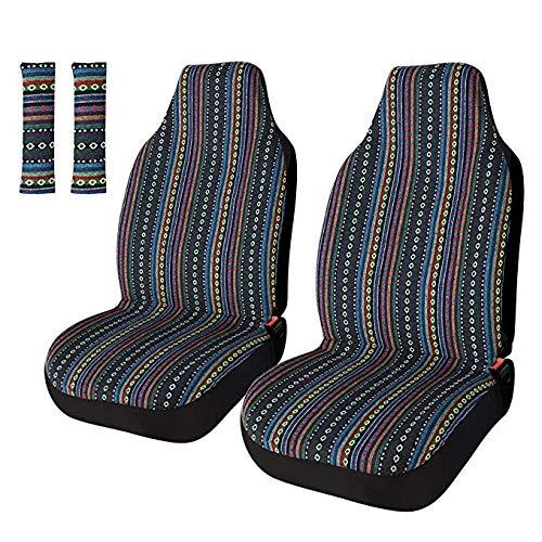 Copap Baja Funda universal para asiento delantero de coche, SUV y camión, 4 unidades, diseño de rayas, multicolor