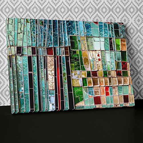 Modern green mosaic glass Canvas Wall Art Abstract Picture Print AB962