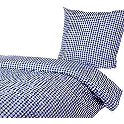 Hans-Textil-Shop Bettwäsche 135x200 80x80 cm Karo 1x1 cm Blau Baumwolle