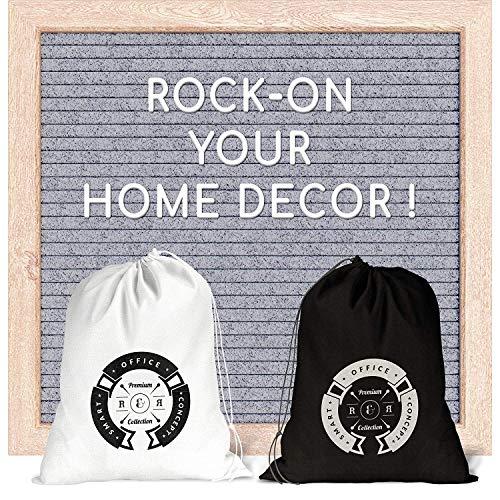 Brieftafel 25,4 x 25,4 cm - graue Filz-Brieftafel mit 290 weißen Kunststoff-Buchstaben, Holzrahmen, 2 Taschen und integriertem Aufhänger für Wanddekoration