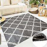 Tapiso SCANDINAVIA Teppich Shaggy Hochflor Langflor Karo Netz Muster Grau Weiß Weich Flauschig Wohnzimmer Schlafzimmer ÖKOTEX 80 x 150 cm