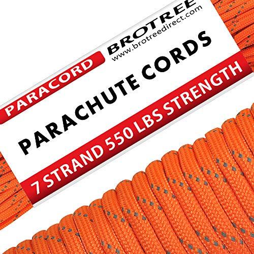 Brotree Paracord Schnur 550 Nylon Seil mit 7 Strängen Fallschirmschnur Reißfestem Kernmantel Seil 250KG Bruchfestigkeit (Standard, Reflektierende) -
