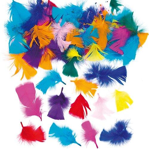 Plumas para manualidades y collages en colores vivos y variados - Material artístico para niños (130 plumas, 20 g).