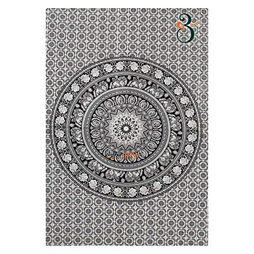 Drappo con mandala a forma di elefante, arazzi hippie, drappo da parete, tappezzeria indiana in bianco e nero, drappo decorativo con mandala bohemiano, single(220x140cms)