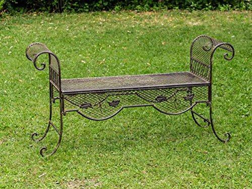 Nostalgie Gartenbank 134cm Metall Bank Garten Antik-Stil Gartenmöbel braun - 2