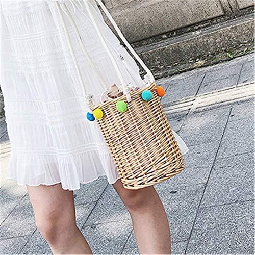 Eeayyygch Handgemachte süße Eimer Stroh Tasche Frauen Sommer kleine Rattan Tasche Woven Schulter Handtasche Art Box Beach Bag Bohemia Handtasche Bali (Farbe : Khaki)