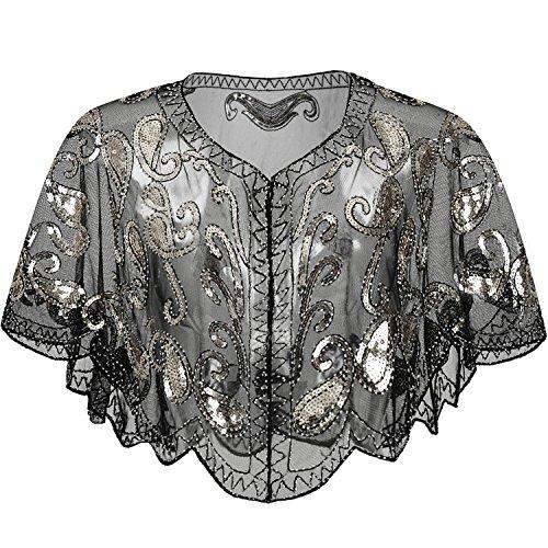 ArtiDeco 1920er Jahre Retro Schal Umschlagtücher für Abendkleider Braut Schal für Hochzeit Party Gatsby Kostüm Accessoires (Schwarz)