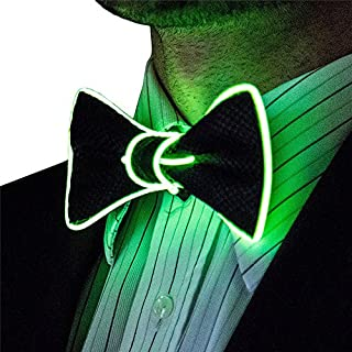 LED Krawatte OMOUP EL Fliege Leuchten Krawatte Fliege Schleife gebunden und verstellbar für Party Weihnachtsfeiern Halloween (Grün)