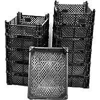 Moos-Design Lot de 1 a 12 caisses en plastique Cagettes empilables en plastique pour le stockage des fruits et légumes