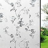 Wopeite Fensterfolie Ohne Klever Statisch Blume Privatsphäre Hitzeschutz Buntglas Dekorativ für Zuhause Schiebetür Büro 90X200CM