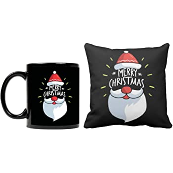 Funky Store Santa Face Merry Christmas Theme Printed Ceramic Mug, Cushion Cover (12x12 inch) (Combo of 2), Set for Friends, Family