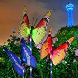 #6: Garden Solar Lights Outdoor, KingSo 3-Pack Butterfly Decorative Lights Outdoor Solar Powered Multicolor 6 LED Purple Stake Fiber Optic Light 1 Changing Color