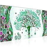 Bilder Gustav Klimt - Baum des Lebens Wandbild Vlies - Leinwand Bild XXL Format Wandbilder Wohnzimmer Wohnung Deko Kunstdrucke Türkis 1 Teilig -100% MADE IN GERMANY - Fertig zum Aufhängen 004612b