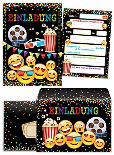 12 Einladungskarten incl. 12 Umschläge Geburtstag Kinder Kino für Mädchen Jungen Jungs Einladungen Kindergeburtstag Geburtstagseinladungen Kartenset Party