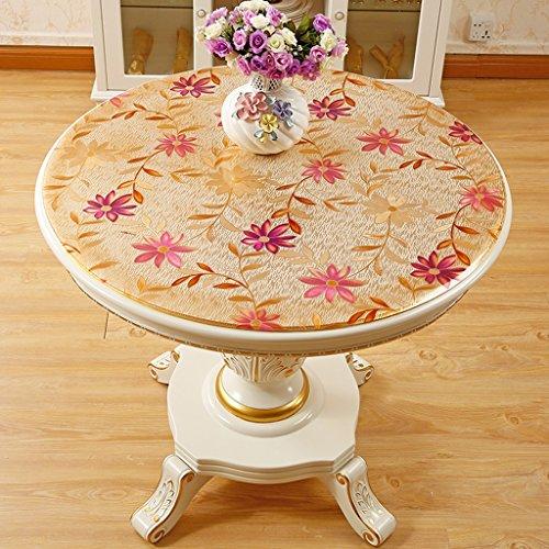 BSNOWF- Nappes Tapis de table ronde de style européen Imperméable Anti-chaud PVC Pads en plastique Home Living Room (Couleur: Round / 1.0mm) ( Couleur : E , taille : Round-120cm )